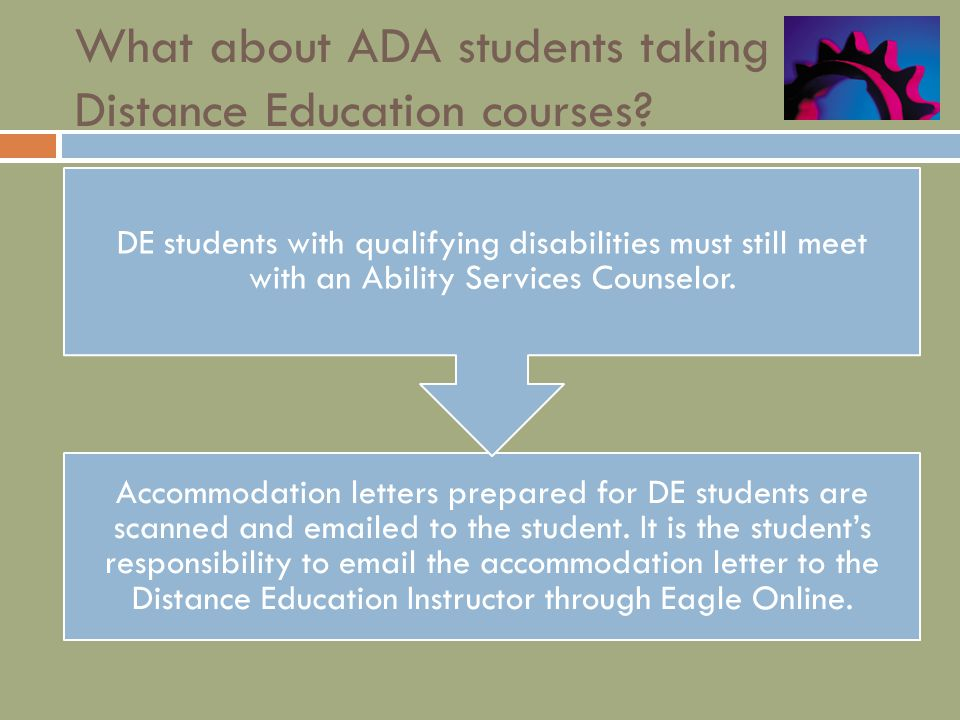 What about ADA students taking Distance Education courses.