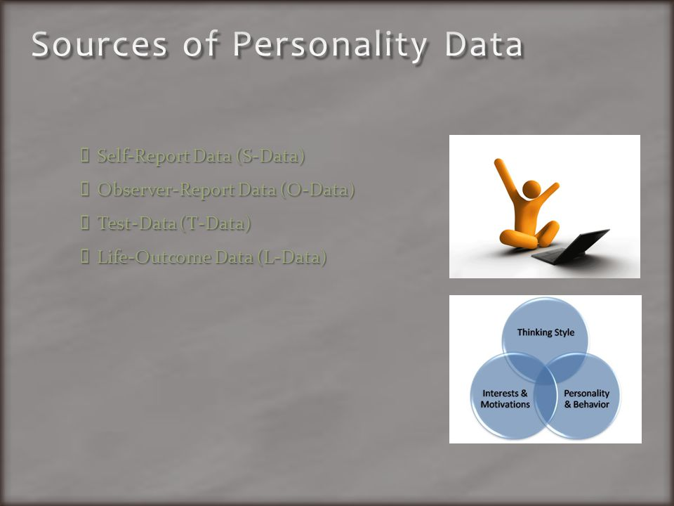 Self-Report Data (S-Data) Observer-Report Data (O-Data) Test-Data (T-Data) Life-Outcome Data (L-Data)