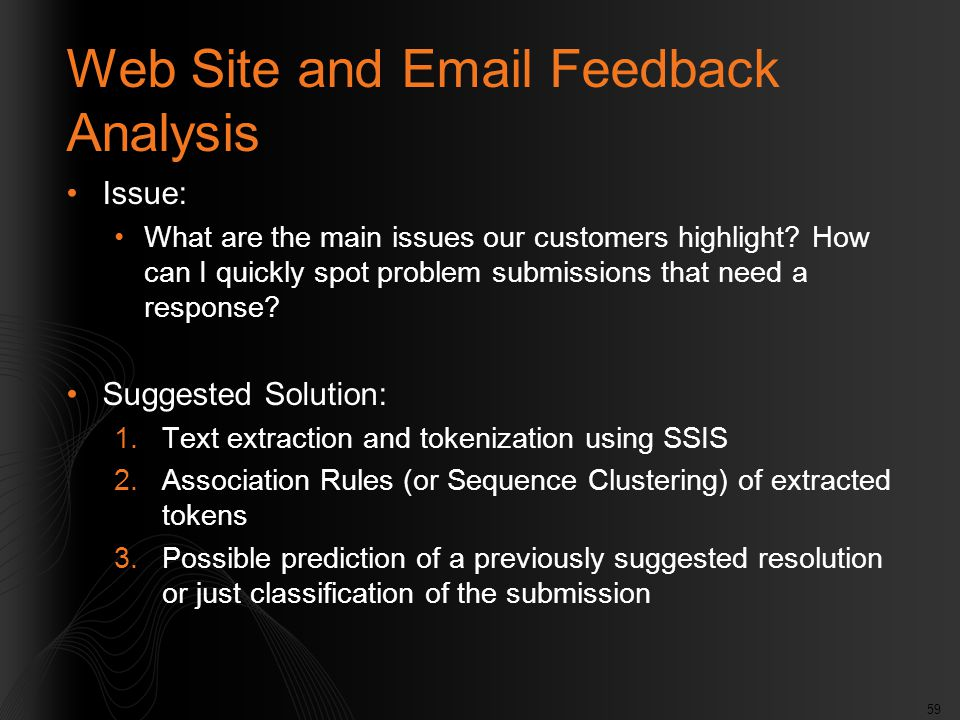 59 Web Site and Email Feedback Analysis Issue: What are the main issues our customers highlight? How can I quickly spot problem submissions that need