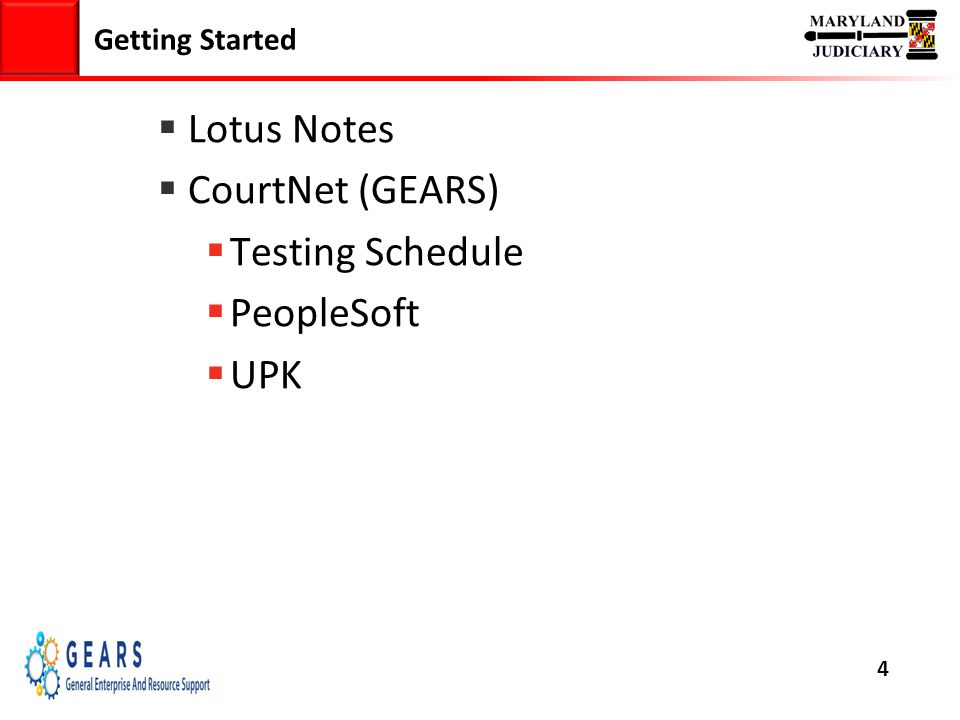 4 Getting Started  Lotus Notes  CourtNet (GEARS)  Testing Schedule  PeopleSoft  UPK