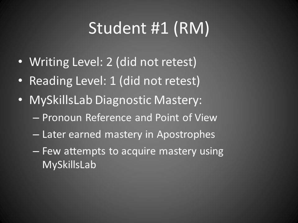Student #2 (MR) CPT Reading 1 (retested at a 1) CPT Writing 1 (retested at a 2) MySkillsLab Diagnostic Mastery – Pronoun Preference and Point of View – No acquired mastery of any other skills