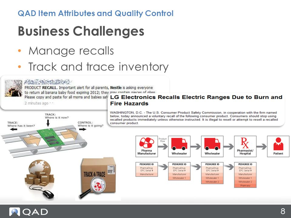 Business Challenges 8 Manage recalls Track and trace inventory QAD Item Attributes and Quality Control