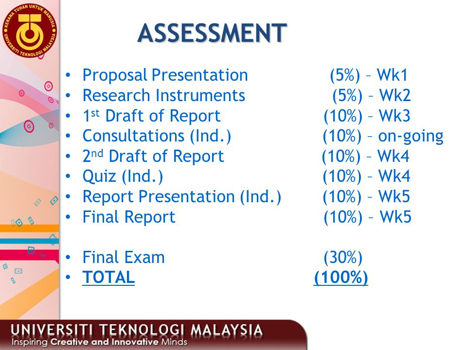 2 ASSESSMENT Proposal Presentation (5%) – Wk1 Research Instruments (5%) – Wk2 1 st Draft of Report (10%) – Wk3 Consultations (Ind.)(10%) – on-going 2