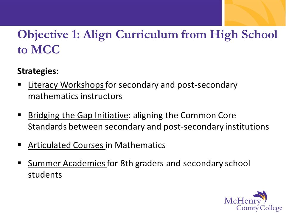 Strategies:  Literacy Workshops for secondary and post-secondary mathematics instructors  Bridging the Gap Initiative: aligning the Common Core Stan