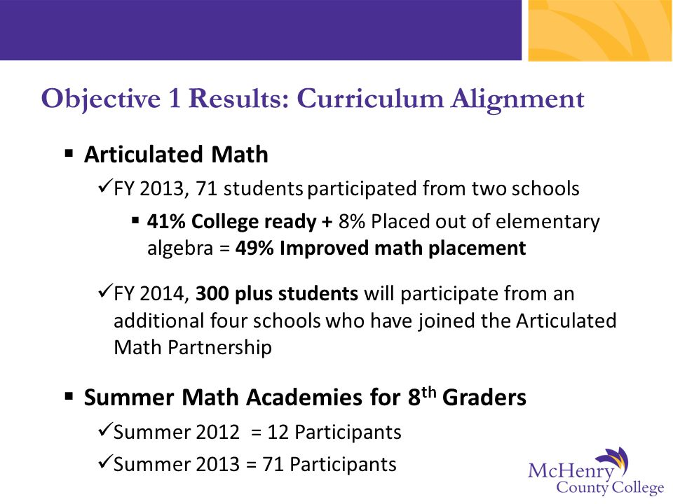  Articulated Math FY 2013, 71 students participated from two schools  41% College ready + 8% Placed out of elementary algebra = 49% Improved math pl