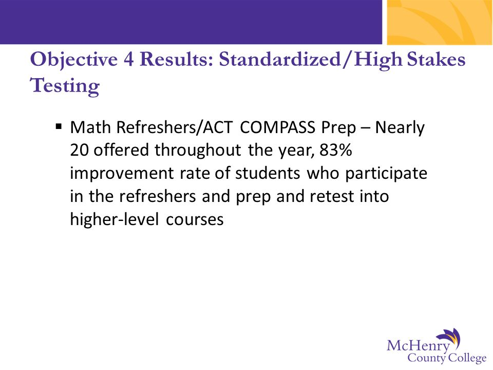  Math Refreshers/ACT COMPASS Prep – Nearly 20 offered throughout the year, 83% improvement rate of students who participate in the refreshers and pre