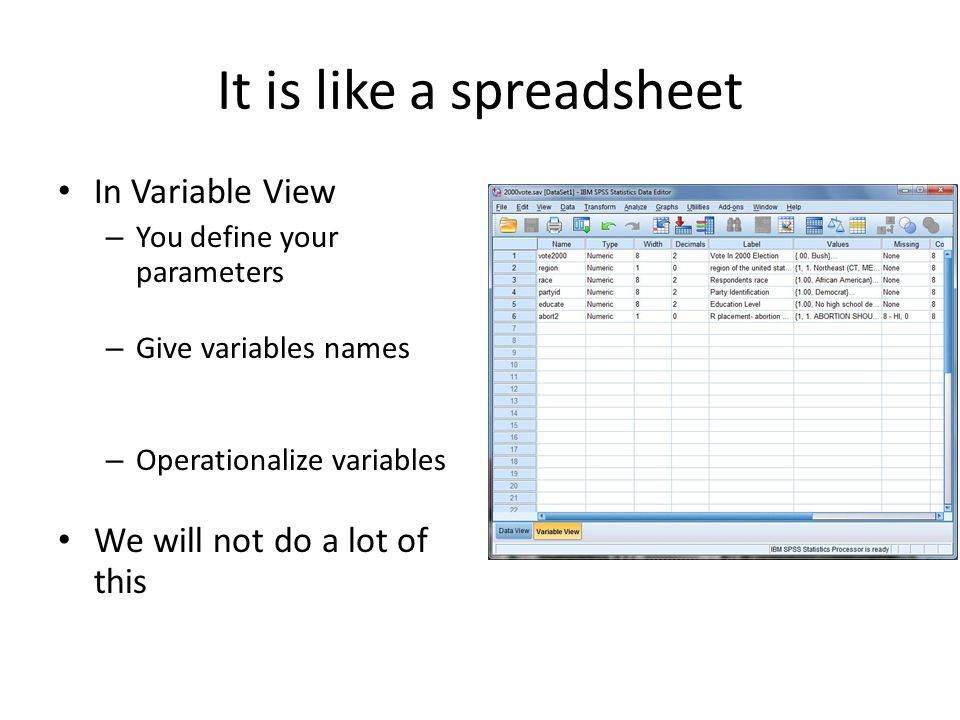 It is like a spreadsheet In Variable View – You define your parameters – Give variables names – Operationalize variables We will not do a lot of this