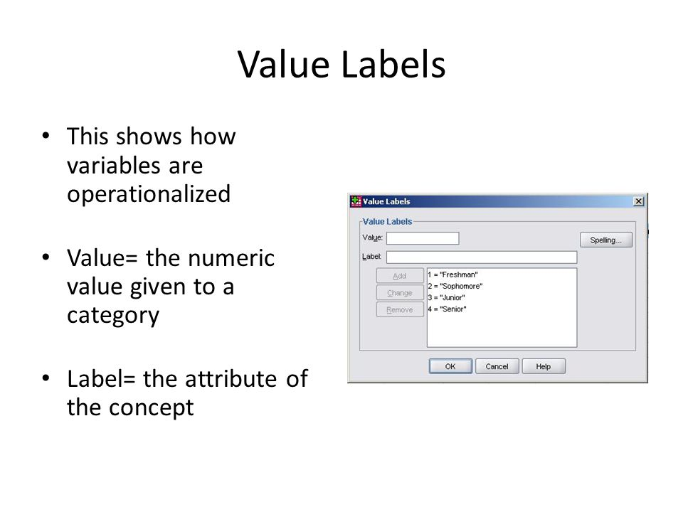 Value Labels This shows how variables are operationalized Value= the numeric value given to a category Label= the attribute of the concept