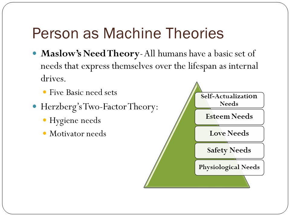 Person as Machine Theories Maslow's Need Theory- All humans have a basic set of needs that express themselves over the lifespan as internal drives.