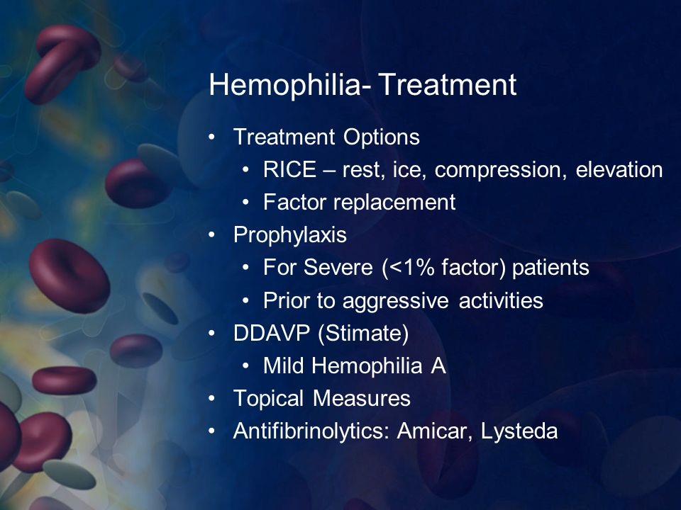 Hemophilia- Treatment Treatment Options RICE – rest, ice, compression, elevation Factor replacement Prophylaxis For Severe (<1% factor) patients Prior