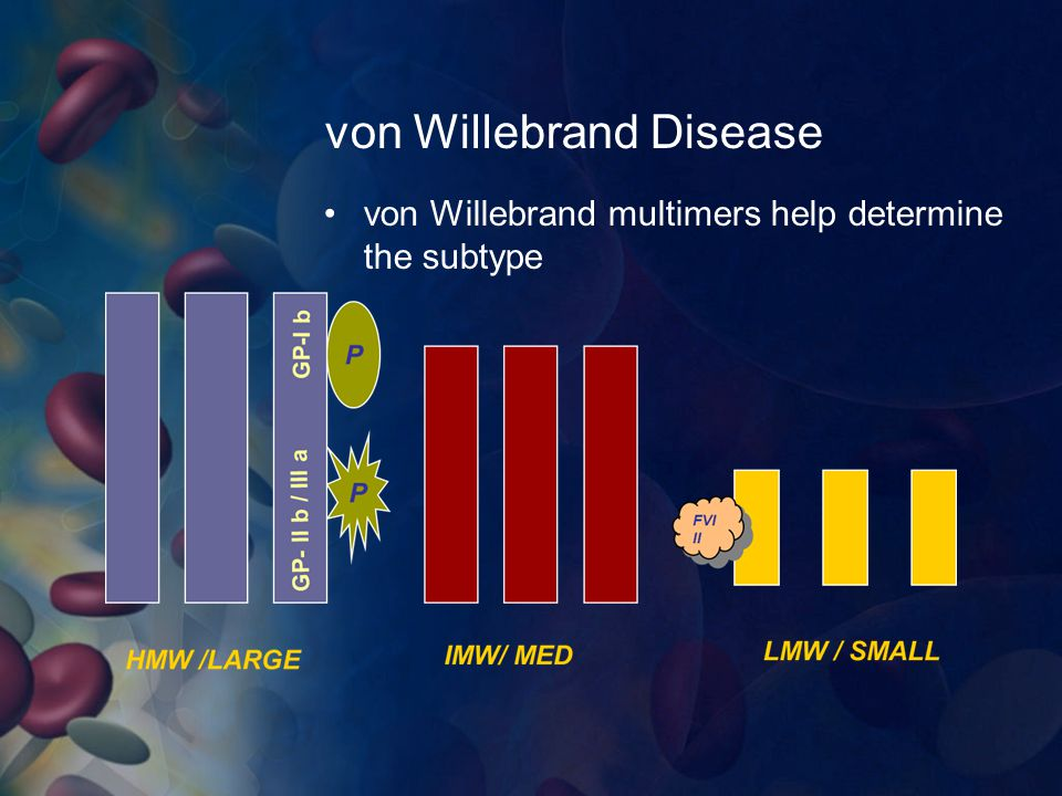von Willebrand Disease von Willebrand multimers help determine the subtype