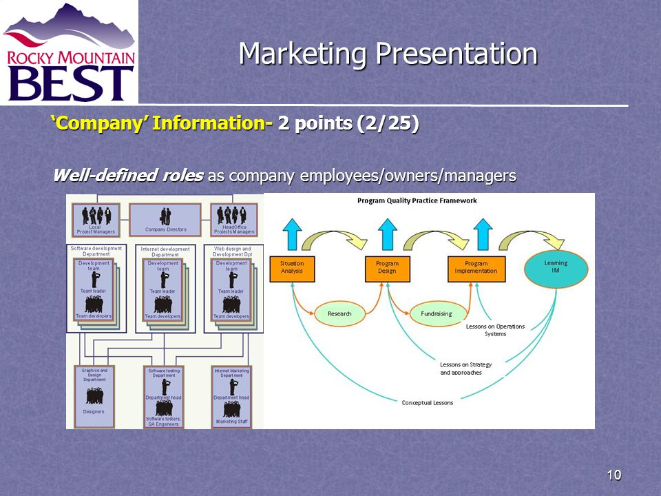 10 Marketing Presentation 'Company' Information- 2 points (2/25) Well-defined roles as company employees/owners/managers