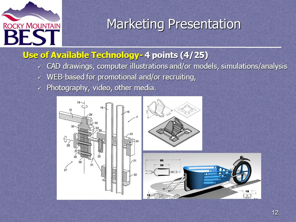 12 Marketing Presentation Use of Available Technology- 4 points (4/25) CAD drawings, computer illustrations and/or models, simulations/analysis CAD drawings, computer illustrations and/or models, simulations/analysis WEB-based for promotional and/or recruiting, WEB-based for promotional and/or recruiting, Photography, video, other media.