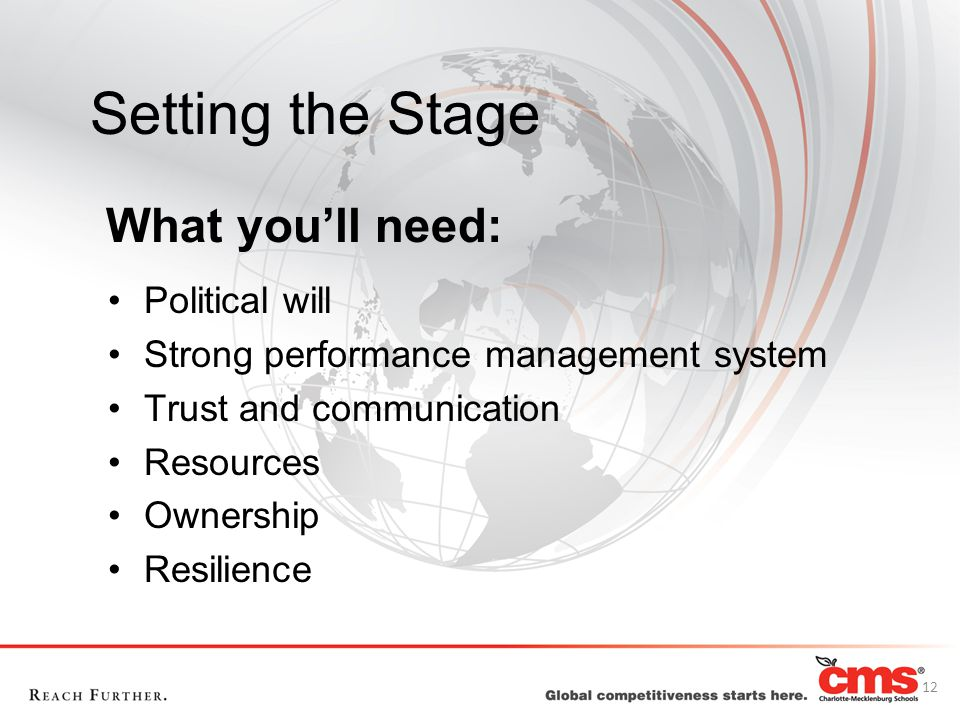 Setting the Stage Political will Strong performance management system Trust and communication Resources Ownership Resilience What you'll need: 12
