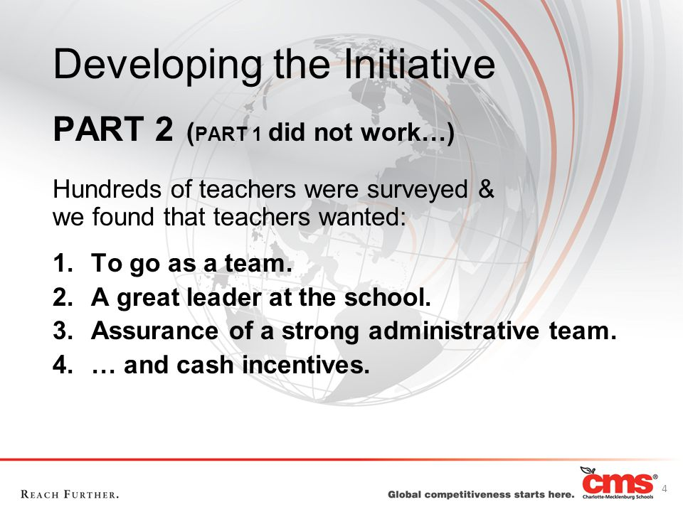 Developing the Initiative PART 2 ( PART 1 did not work…) Hundreds of teachers were surveyed & we found that teachers wanted: 1.To go as a team. 2.A gr