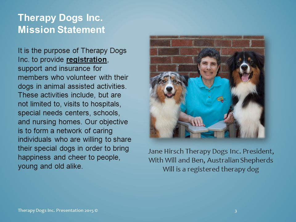 Special Situations Requiring Permission Obtain appropriate information from the Therapy Dogs Inc.