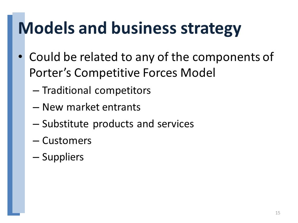Models and business strategy Could be related to any of the components of Porter's Competitive Forces Model – Traditional competitors – New market entrants – Substitute products and services – Customers – Suppliers 15