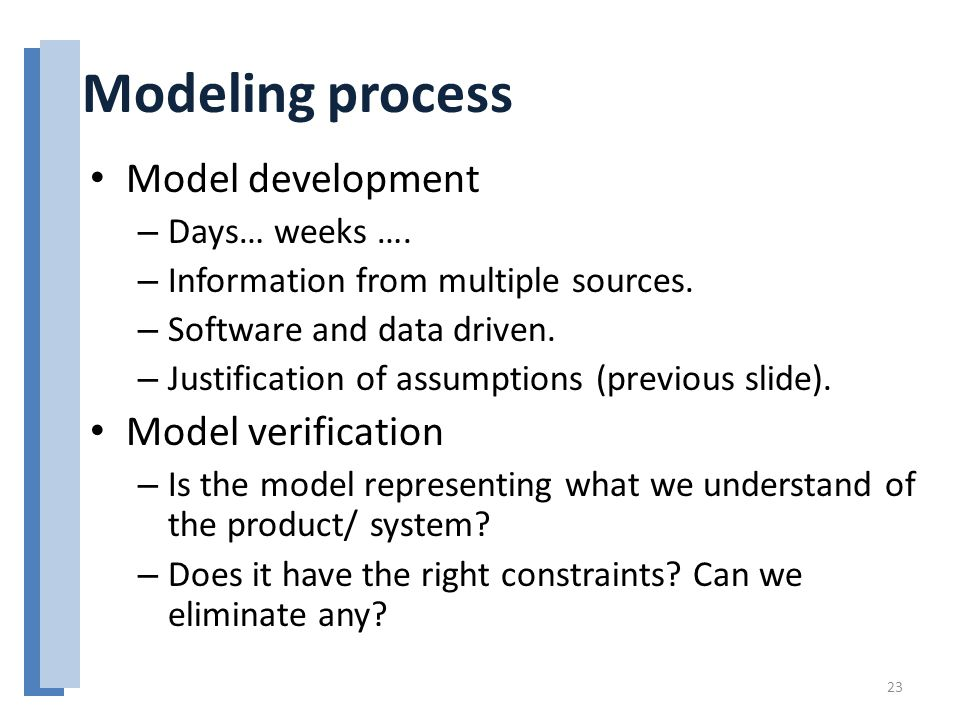 Model development – Days… weeks …. – Information from multiple sources. – Software and data driven. – Justification of assumptions (previous slide). M