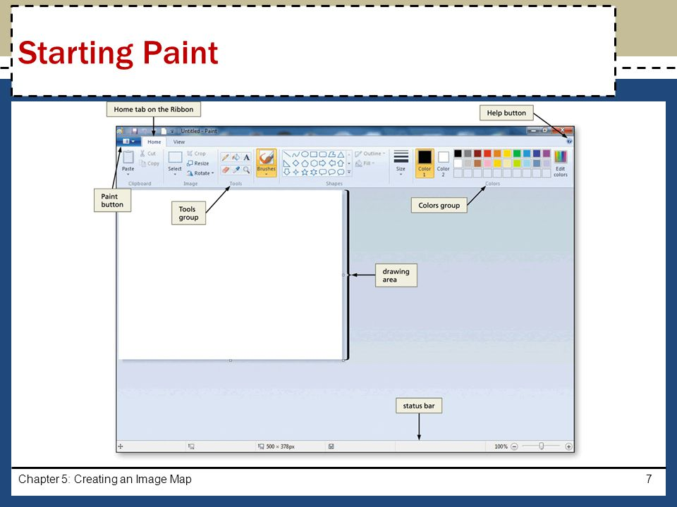 With a USB drive plugged into your computer, click the Paint button and then click Open Navigate to the location of the image you wish to open Click the image, and then click the Open button in the Open dialog box to display the image that will be used for image mapping Chapter 5: Creating an Image Map8 Opening an Image File in Paint