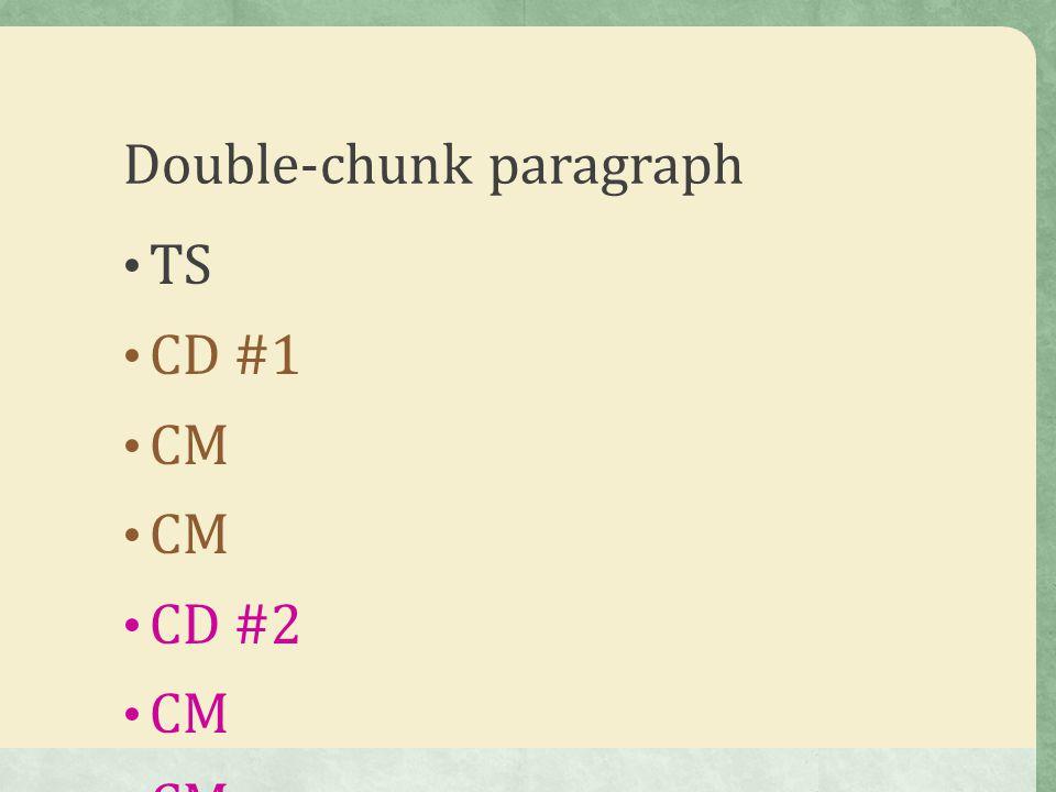 Double-chunk paragraph TS CD #1 CM CD #2 CM CS