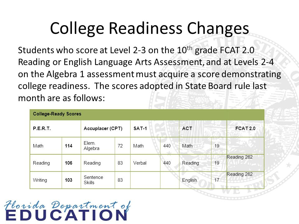 College Readiness Changes Students who score at Level 2-3 on the 10 th grade FCAT 2.0 Reading or English Language Arts Assessment, and at Levels 2-4 on the Algebra 1 assessment must acquire a score demonstrating college readiness.