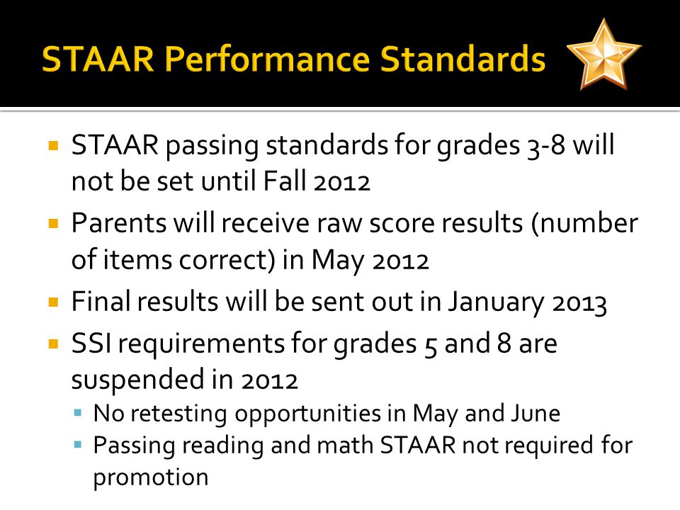  STAAR passing standards for grades 3-8 will not be set until Fall 2012  Parents will receive raw score results (number of items correct) in May 2012  Final results will be sent out in January 2013  SSI requirements for grades 5 and 8 are suspended in 2012  No retesting opportunities in May and June  Passing reading and math STAAR not required for promotion