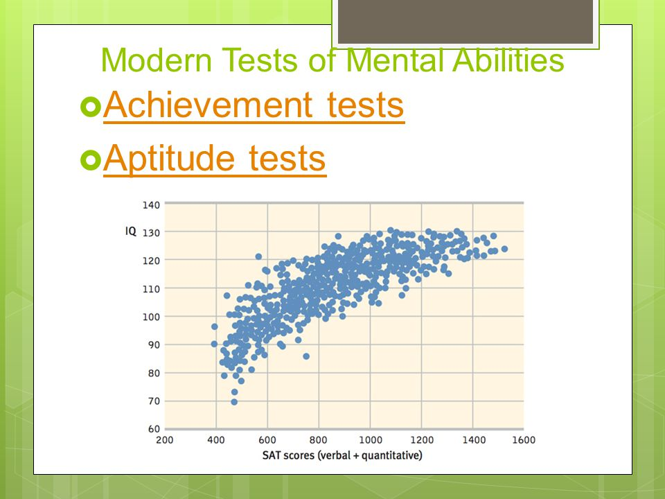 Modern Tests of Mental Abilities  Achievement tests Achievement tests  Aptitude tests Aptitude tests