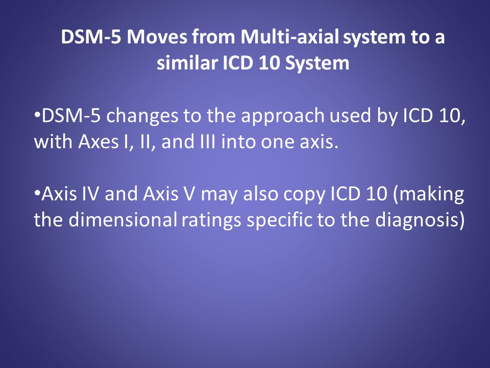 DSM-5 Moves from Multi-axial system to a similar ICD 10 System DSM-5 changes to the approach used by ICD 10, with Axes I, II, and III into one axis. A