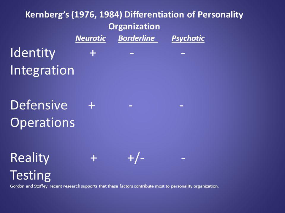 Kernberg's (1976, 1984) Differentiation of Personality Organization Neurotic Borderline Psychotic Identity + - - Integration Defensive + - - Operation