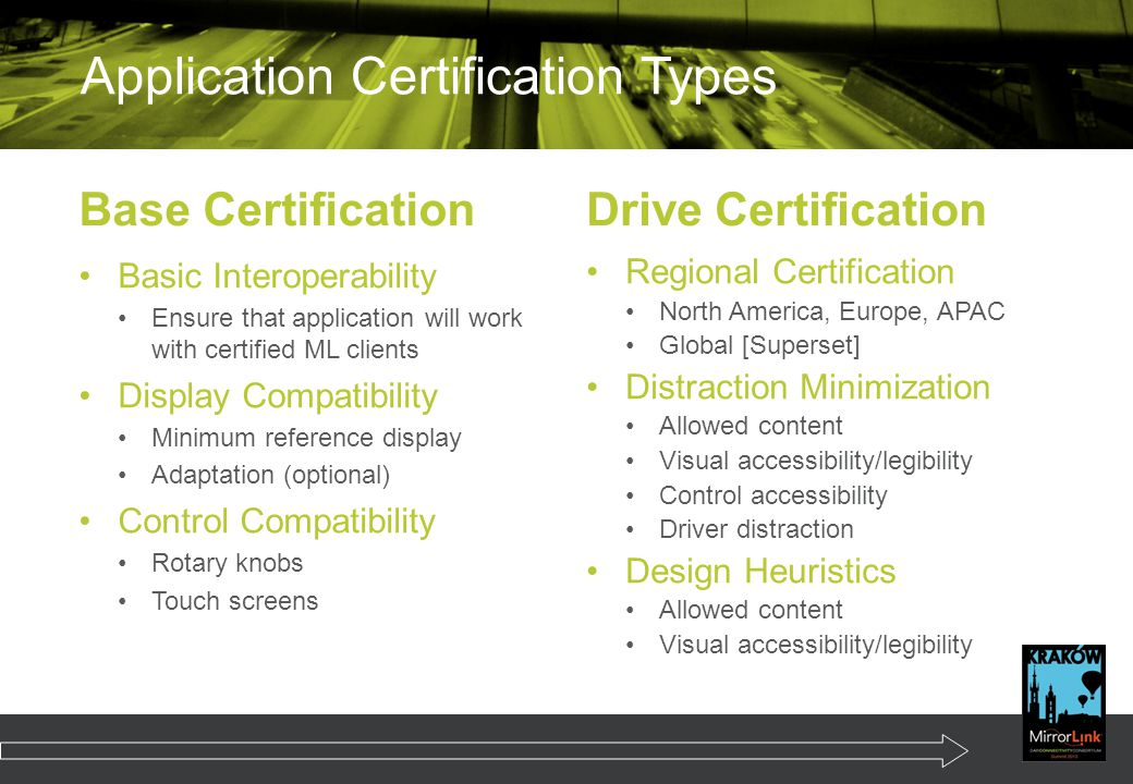 Application Certification Types Base Certification Basic Interoperability Ensure that application will work with certified ML clients Display Compatibility Minimum reference display Adaptation (optional) Control Compatibility Rotary knobs Touch screens Drive Certification Regional Certification North America, Europe, APAC Global [Superset] Distraction Minimization Allowed content Visual accessibility/legibility Control accessibility Driver distraction Design Heuristics Allowed content Visual accessibility/legibility