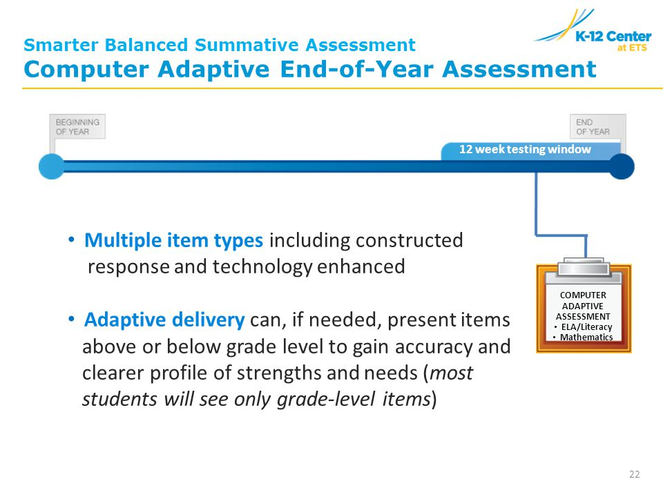 Last 12 weeks of year* Smarter Balanced Summative Assessment Computer Adaptive End-of-Year Assessment Multiple item types including constructed response and technology enhanced Adaptive delivery can, if needed, present items above or below grade level to gain accuracy and clearer profile of strengths and needs (most students will see only grade-level items) 22 COMPUTER ADAPTIVE ASSESSMENT ELA/Literacy Mathematics 12 week testing window