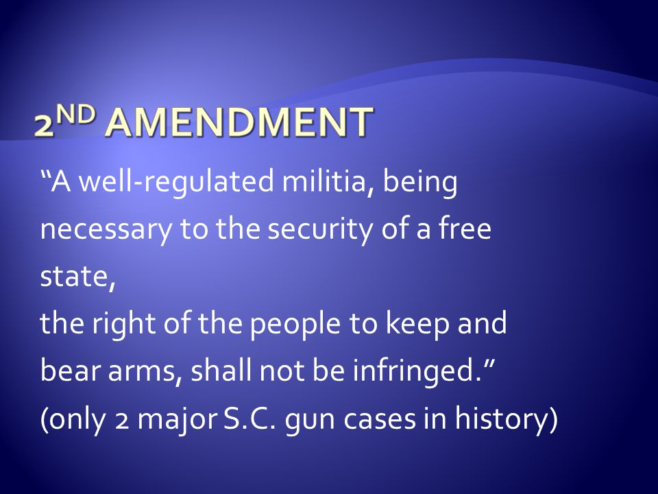  Write the 2 nd Amendment EXACTLY as it appears in the Bill of Rights (including punctuation).