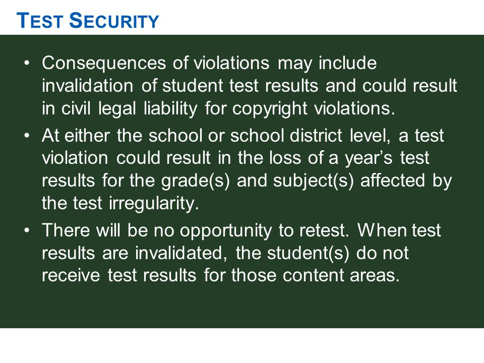 T EST S ECURITY Consequences of violations may include invalidation of student test results and could result in civil legal liability for copyright vi