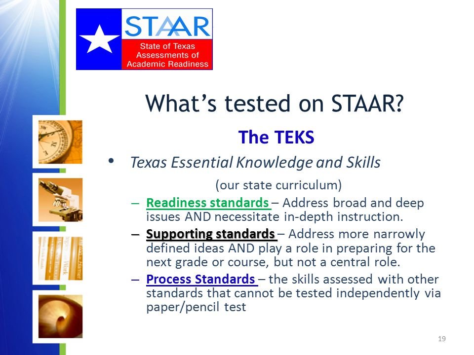 19 What's tested on STAAR.