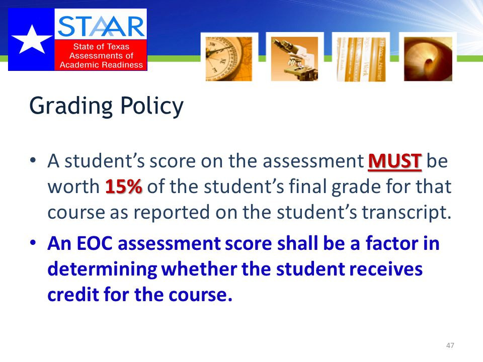 Class Rank calculation policy The initial EOC assessment score shall be included in class rank calculations.