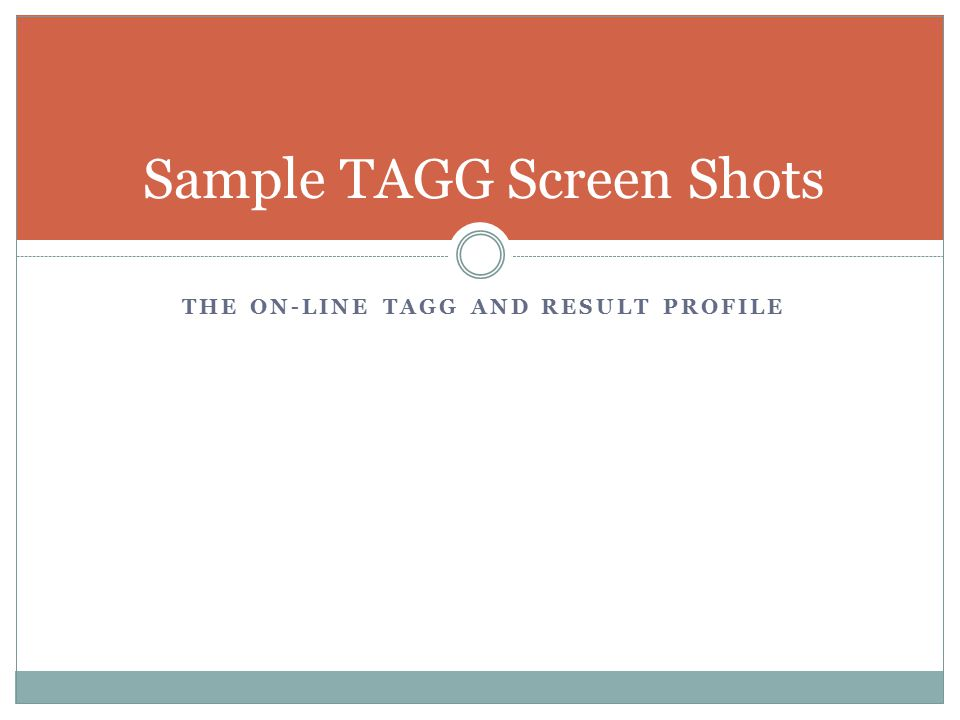 THE ON-LINE TAGG AND RESULT PROFILE Sample TAGG Screen Shots