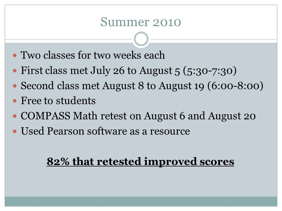 Summer 2010 Two classes for two weeks each First class met July 26 to August 5 (5:30-7:30) Second class met August 8 to August 19 (6:00-8:00) Free to students COMPASS Math retest on August 6 and August 20 Used Pearson software as a resource 82% that retested improved scores