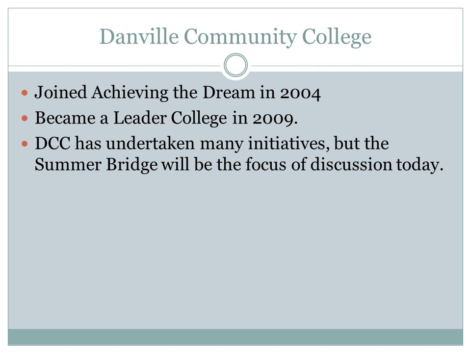 Danville Community College Joined Achieving the Dream in 2004 Became a Leader College in 2009.