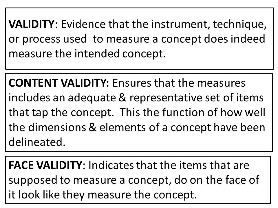 VALIDITY: Evidence that the instrument, technique, or process used to measure a concept does indeed measure the intended concept.