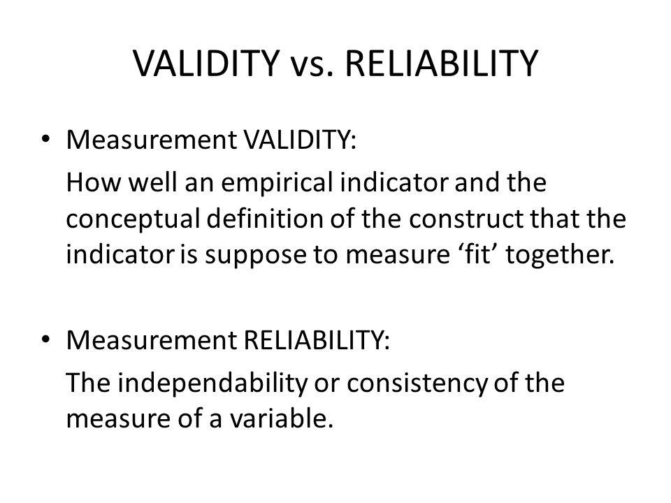 VALIDITY vs.