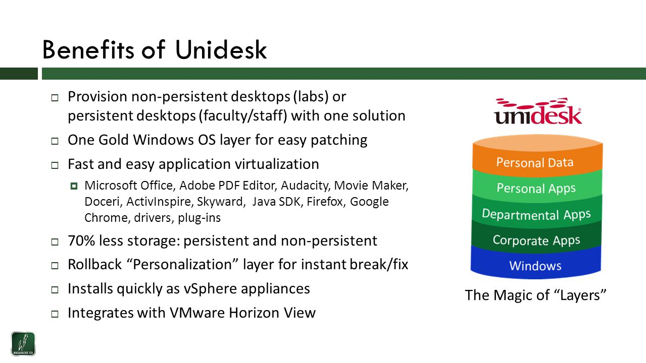 Benefits of Unidesk  Provision non-persistent desktops (labs) or persistent desktops (faculty/staff) with one solution  One Gold Windows OS layer for easy patching  Fast and easy application virtualization  Microsoft Office, Adobe PDF Editor, Audacity, Movie Maker, Doceri, ActivInspire, Skyward, Java SDK, Firefox, Google Chrome, drivers, plug-ins  70% less storage: persistent and non-persistent  Rollback Personalization layer for instant break/fix  Installs quickly as vSphere appliances  Integrates with VMware Horizon View The Magic of Layers