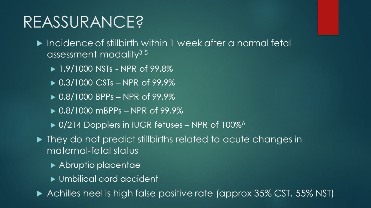 REASSURANCE?  Incidence of stillbirth within 1 week after a normal fetal assessment modality 3-5  1.9/1000 NSTs - NPR of 99.8%  0.3/1000 CSTs – NPR