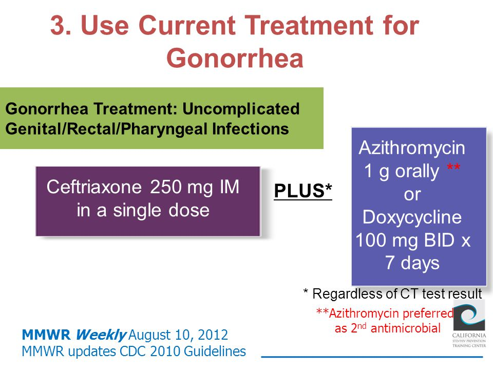 Gonorrhea Treatment: Uncomplicated Genital/Rectal/Pharyngeal Infections Ceftriaxone 250 mg IM in a single dose Azithromycin 1 g orally ** or Doxycycli