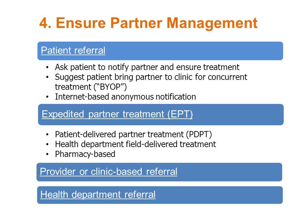 4. Ensure Partner Management Patient referral Ask patient to notify partner and ensure treatment Suggest patient bring partner to clinic for concurren
