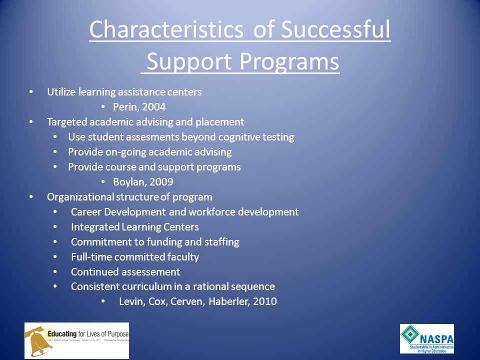 Characteristics of Successful Support Programs Utilize learning assistance centers Perin, 2004 Targeted academic advising and placement Use student assesments beyond cognitive testing Provide on-going academic advising Provide course and support programs Boylan, 2009 Organizational structure of program Career Development and workforce development Integrated Learning Centers Commitment to funding and staffing Full-time committed faculty Continued assessement Consistent curriculum in a rational sequence Levin, Cox, Cerven, Haberler, 2010