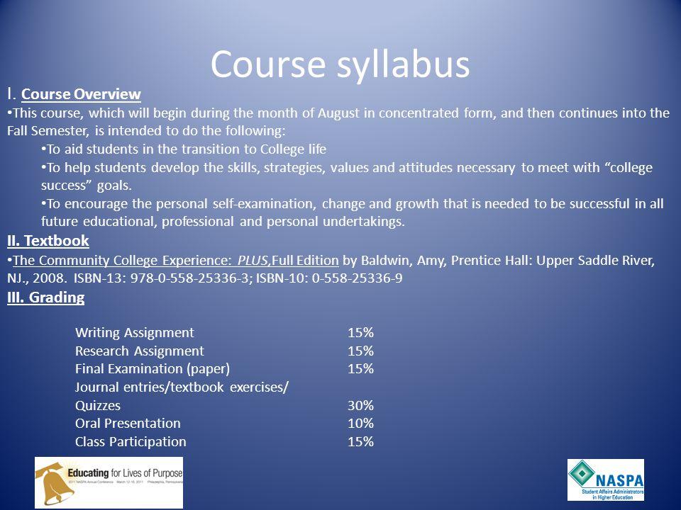 Course syllabus I.