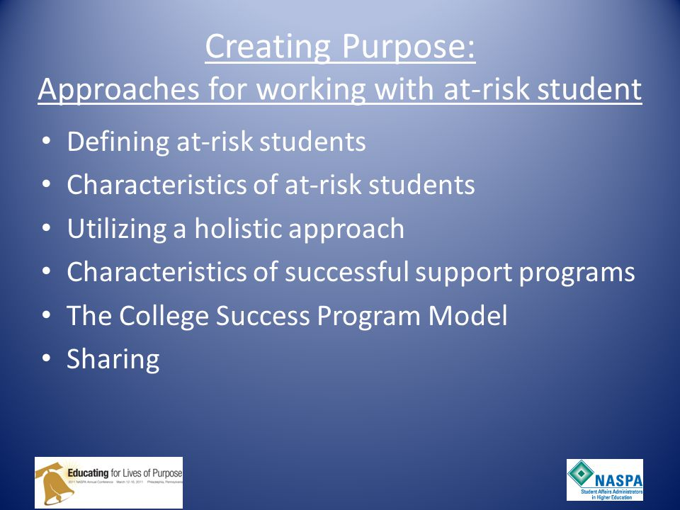 Creating Purpose: Approaches for working with at-risk student Defining at-risk students Characteristics of at-risk students Utilizing a holistic approach Characteristics of successful support programs The College Success Program Model Sharing