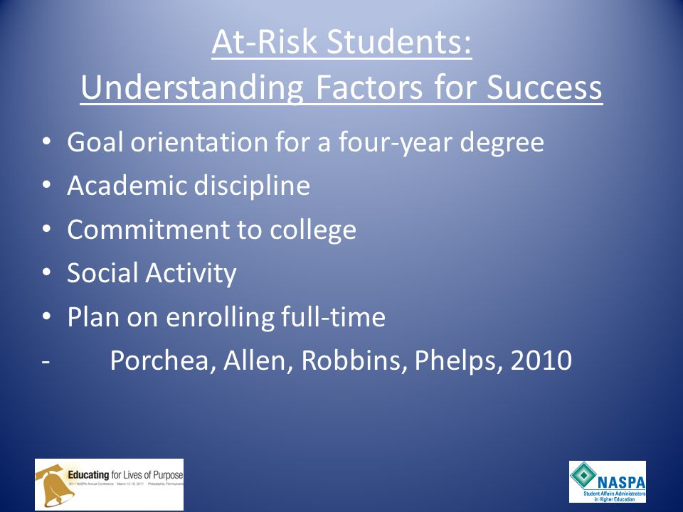 At-Risk Students: Understanding Factors for Success Goal orientation for a four-year degree Academic discipline Commitment to college Social Activity Plan on enrolling full-time -Porchea, Allen, Robbins, Phelps, 2010