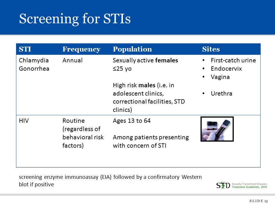 S L I D E 13 Screening for STIs STIFrequencyPopulationSites Chlamydia Gonorrhea AnnualSexually active females ≤25 yo High risk males (i.e.