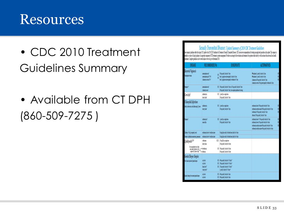 S L I D E 33 Resources CDC 2010 Treatment Guidelines Summary Available from CT DPH (860-509-7275 )